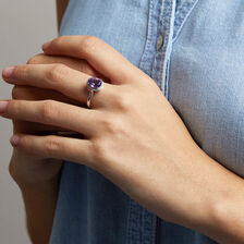 Ring with Amethyst & 1/15 Carat TW of Diamonds in 10kt White Gold