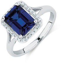 Ring with a Created Sapphire & Diamonds in 10kt White Gold
