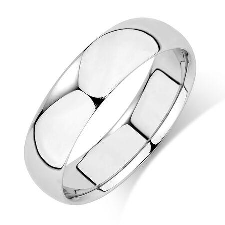 Men's Wedding Band in 10kt White Gold