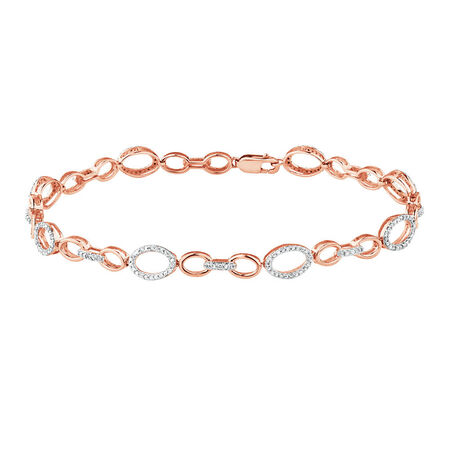 Bracelet with 1/5 Carat TW of Diamonds in 10kt Rose Gold