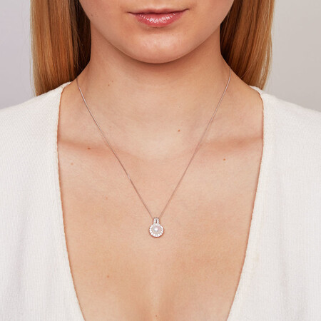 Pendant with a Cultured Freshwater Pearl & Created White Sapphires in Sterling Silver