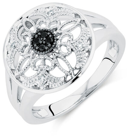 City Lights Ring with White & Enhanced Black Diamonds in Sterling Silver