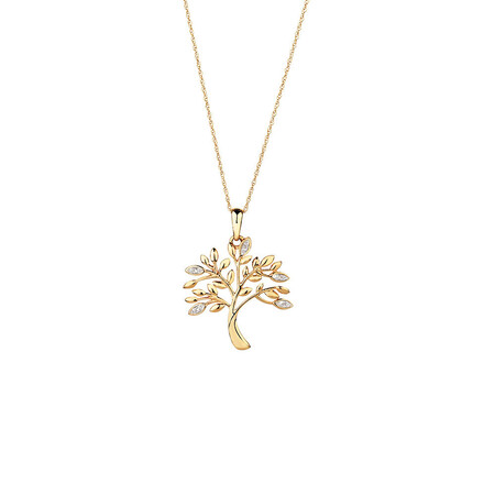 Tree of Life Pendant with Diamonds in 10kt Yellow Gold
