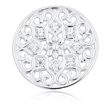 Cubic Zirconia & Sterling Silver Flower Coin Locket Insert