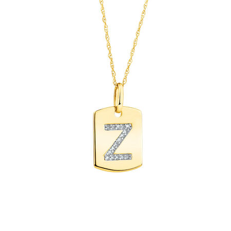 "Z"" Initial Rectangular Pendant With Diamonds In 10kt Yellow Gold"