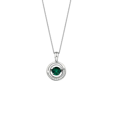 Everlight Pendant with Created Emerald & Diamonds in Sterling Silver