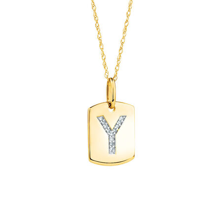 "Y"" Initial Rectangular Pendant With Diamonds In 10kt Yellow Gold"