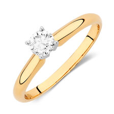 Solitaire Engagement Ring with a 1/3 Carat Diamond in 14kt Yellow & White Gold