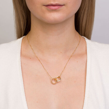 Glitter Linked Circles Necklace in 10kt Yellow Gold