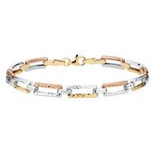 """21cm (8"""") Bracelet in 10kt Yellow, White & Rose Gold"""