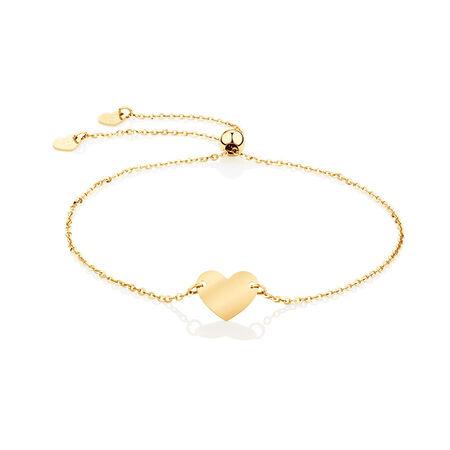 Adjustable Heart Bracelet in 10kt Yellow Gold