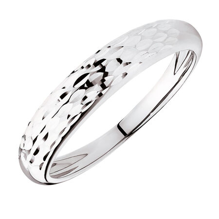 Dome Stacker Ring in 10kt White Gold
