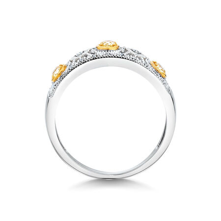 Ring with 1/3 Carat TW of White & Natural Yellow Diamonds in 10kt Yellow & White Gold