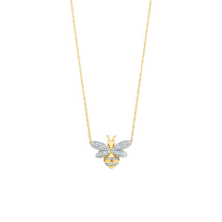 Bee pendant with 1/5 Carat TW Diamonds in 10kt Yellow Gold