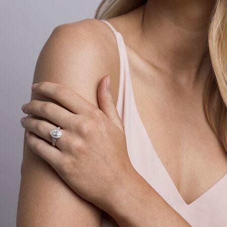 Sir Michael Hill Designer GrandAmoroso Engagement Ring with 1 Carat TW of Diamonds in 14kt White, Yellow & Rose Gold