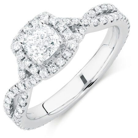 Sir Michael Hill Designer GrandAdagio Engagement Ring with 1 1/2 Carat TW of Diamonds in 14kt White Gold