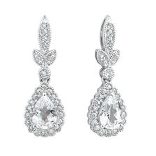 Drop Earrings with Created White Sapphire in Sterling Silver