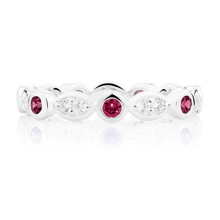 White & Burgundy Cubic Zirconia Stack Ring