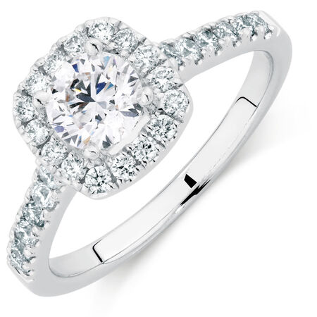 Online Exclusive - Engagement Ring with 1 1/5 Carat TW of Diamonds in 14kt White Gold