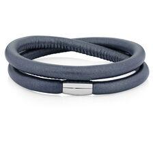 "Slate Leather 38cm (15"") Wild Hearts Double Wrap Bracelet"