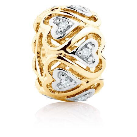 Diamond Set Running Hearts Charm in 10kt Yellow Gold