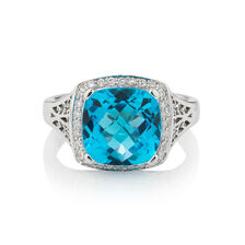 Online Exclusive - Ring with 0.14 Carat TW of Diamonds & Blue Topaz in 10kt White Gold