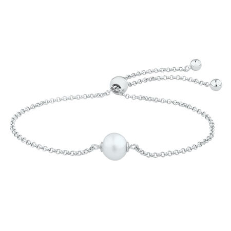 Adjustable Bracelet with a Cultured Freshwater Pearls in Sterling Silver