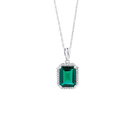 Pendant with Created Emerald & 1/10 Carat TW of Diamonds in 10kt White Gold