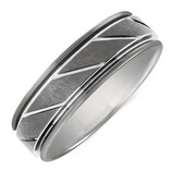 7mm Men's Patterned Ring in Gray Tungsten
