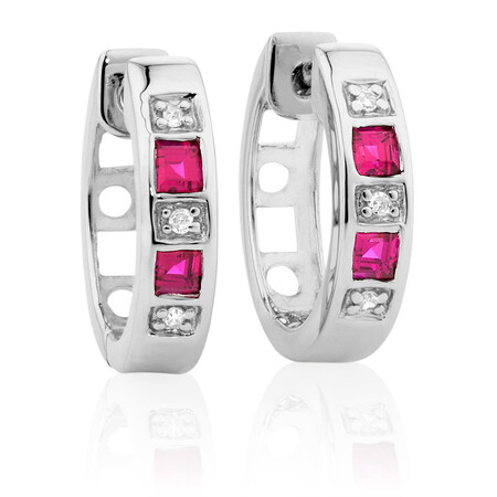 Hoop Earrings with Created Ruby & Diamonds in 10kt White Gold