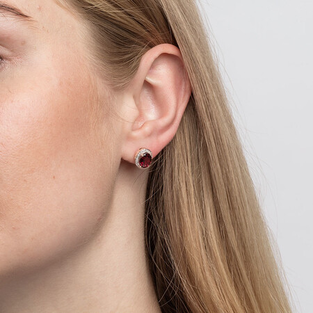 Earrings with Rhodolite Garnet and 1/6 Carat TW of Diamonds in 10kt Rose Gold