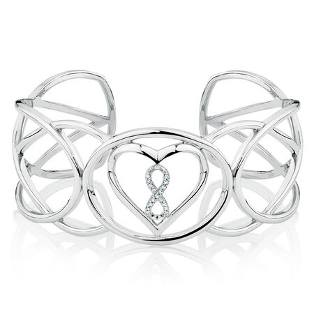 Infinitas Cuff with 1/20 Carat TW of Diamonds in Sterling Silver