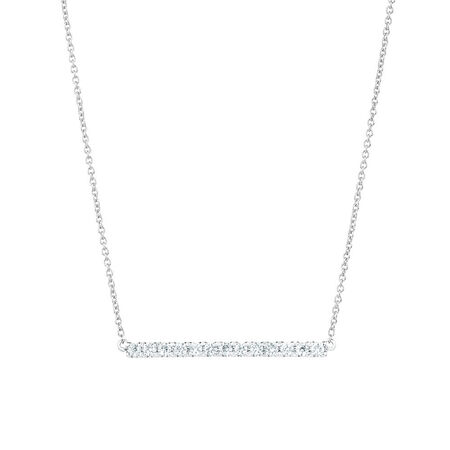 Geometric Bar Necklace with Diamonds in 10kt White Gold