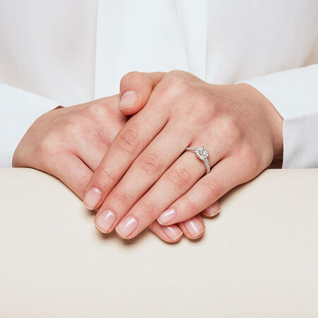Engagement Ring with 3/4 Carat TW of Diamonds in 14kt White Gold