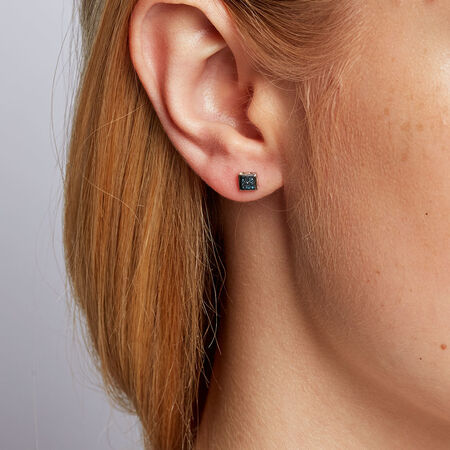 City Lights Stud Earrings with 1/20 Carat TW of Enhanced Blue Diamonds in Sterling Silver