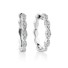 Huggie Earrings with Diamonds in Sterling Silver