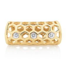 Diamond Set Honeycomb Wild Hearts Sleeve in 10kt Yellow Gold