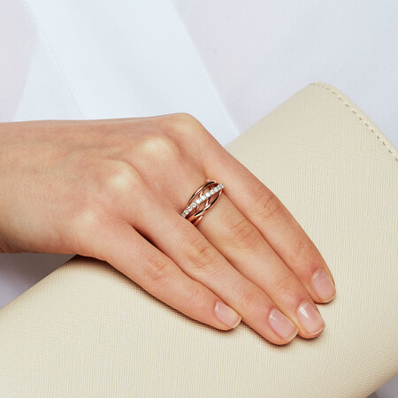Ring with 1/3 Carat of Diamonds in 10kt White & Rose Gold