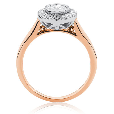 Engagement Ring with 3/4 Carat TW of Diamonds in 14kt Rose & White Gold