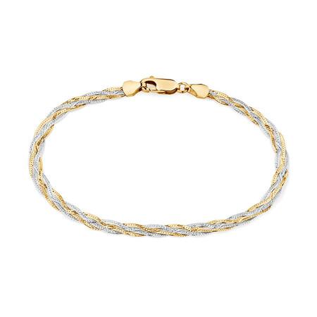"""19cm (7.5"""") Fancy Bracelet in 10kt Yellow & White Gold"""