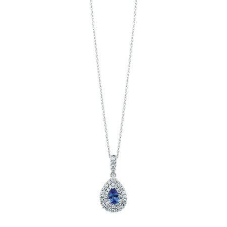 Michael Hill Designer Pendant with Tanzanite & 1/3 Carat TW of Diamonds in 14ct White & Rose Gold