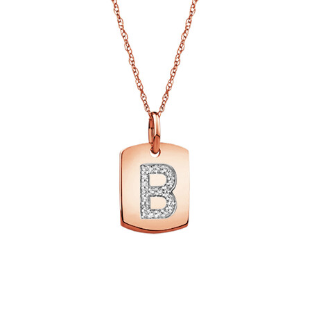 """B"" Initial Rectangular Pendant With Diamonds In 10ct Rose Gold"
