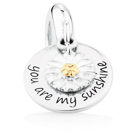Daisy Dangle Charm in Sterling Silver & 10kt Yellow Gold