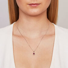 Online Exclusive - Pendant with Created Ruby & Diamonds in 10kt White Gold