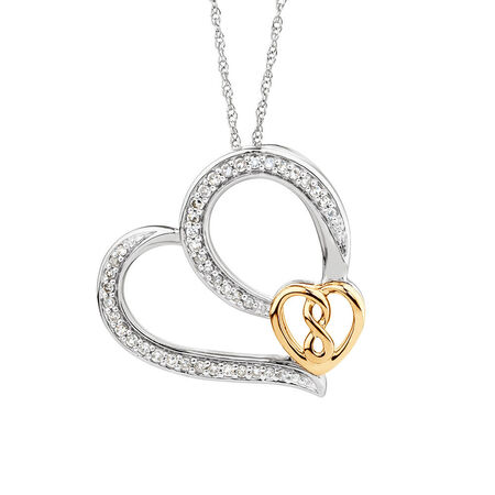 Infinitas Heart Pendant with 1/5 Carat TW of Diamonds in Sterling Silver & 10kt Yellow Gold