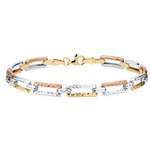 "19cm (7.5"") Bracelet in 10kt Yellow, White & Rose Gold"