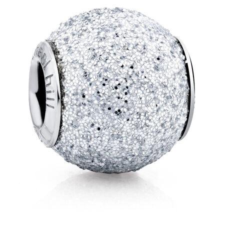 Silver Glitter Enamel Charm