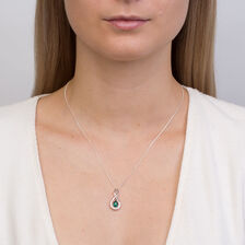 Online Exclusive - Pendant with Created Emerald & Diamonds in 10kt White Gold