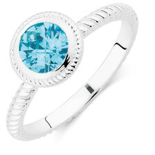 Patterned Aqua Cubic Zirconia Stack Ring