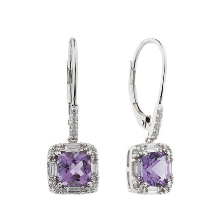 Online Exclusive - Earrings with Amethyst & 0.30 Carat TW of Diamonds in 10kt White Gold